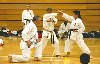 Sensei Omura demostrating with Shahinaz