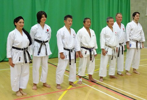 Pictured: Sensei Martin, Shahinaz, Patrick and David with the Course Instructors Sensei Ohta, Sensei Imura and Sensei Sawada.