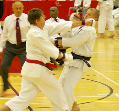 Nigel Hepple competing at the JKA England National Championships in the Senior Male Kumite catergory.