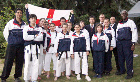 The England Junior Squad at the JKA European Championships in Beek, Netherlands