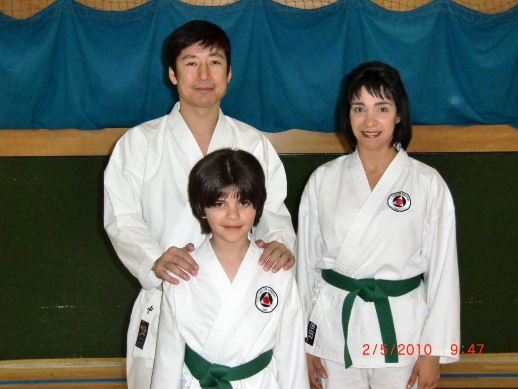 Sensei Naka with Sensei Shahinaz Pelter and her son, Patrick. Pictured in May 2010.
