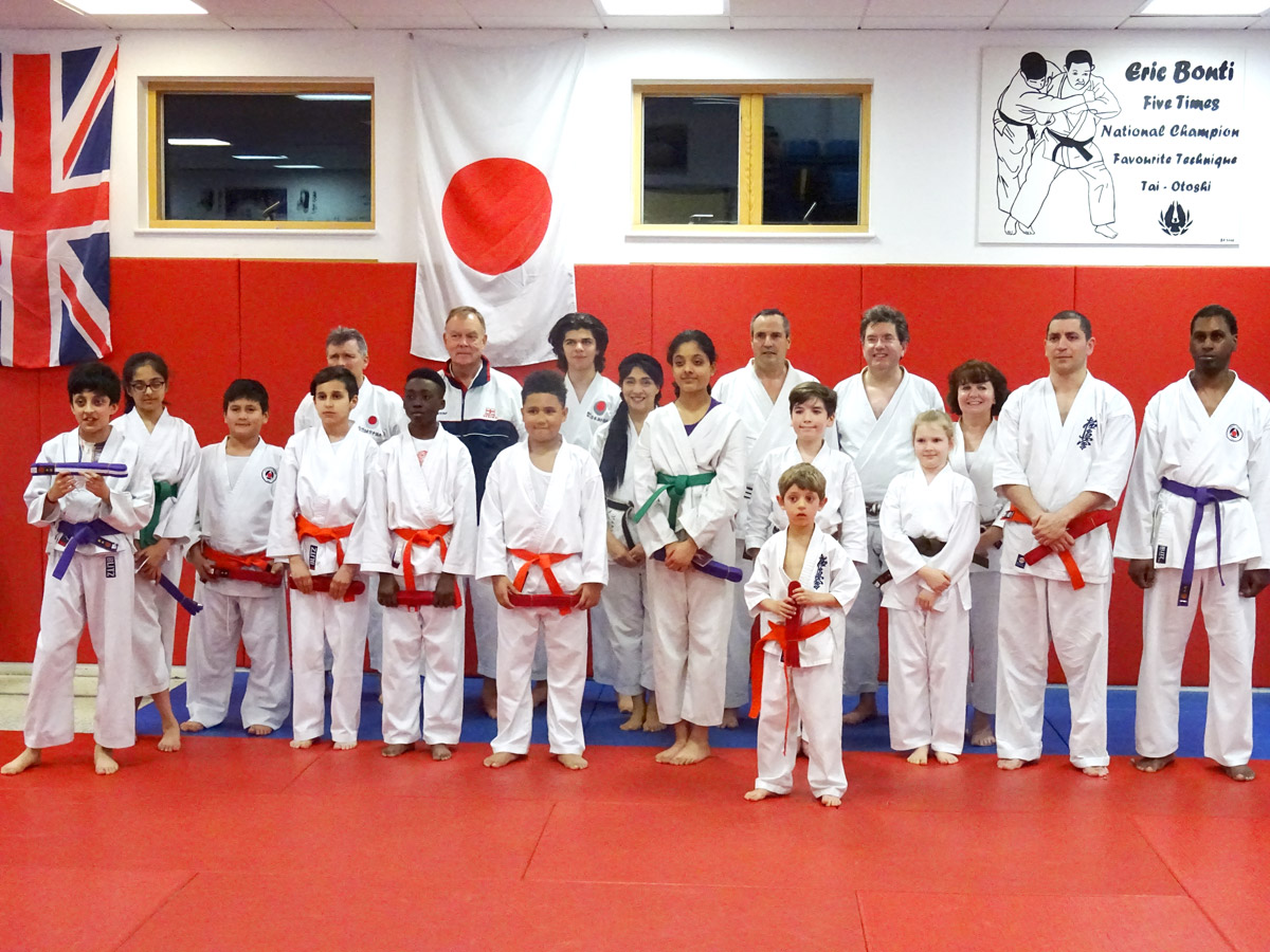 Students of South London SKC and Ethos at the grading with Sensei Martin Dobson.