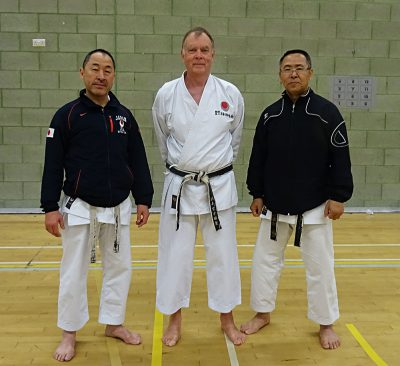 Sensei Martin at the JKA England Spring Course in Crawley with Sensei Ogura 7th Dan ( left ) and Sensei Hashiguchi 7th Dan ( right )