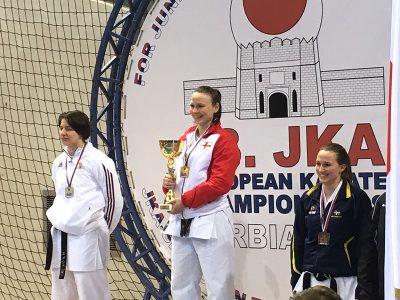 Roisin Akimoto wins double gold for the Senior Women's Kata and Kumite