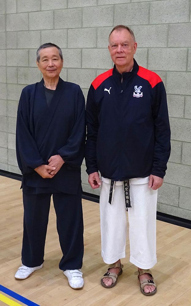 Sensei Sawada 7th Dan(JKA) with Sensei Martin at the May 2019 K2 Crawley International Course